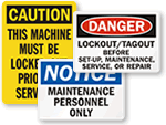Lockout Before Maintenance Signs