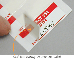 Self-laminating Do Not Use Label