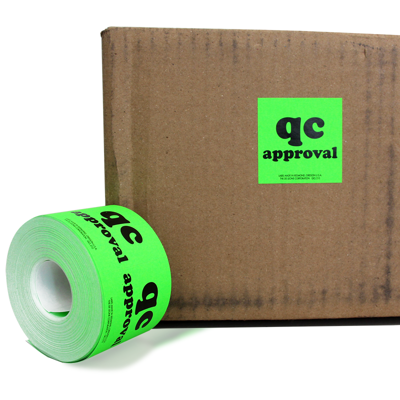 Grab A Label In Dispenser Box: QC Approval Labels In Dispenser Box