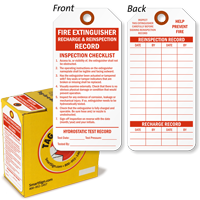 Fire Extinguisher Recharge Reinspection Record Tag-in-a-Box