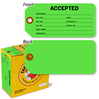 Accepted Tag in fluorescent green with Fiber Patch