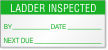 Ladder Inspected By, Date, Next Due Calibration Label