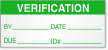 Verification By, Date, Due, ID Calibration Label