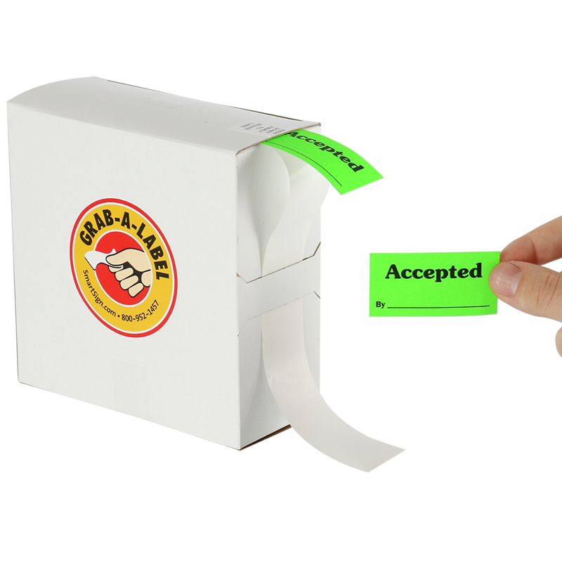 Grab A Label In Dispenser Box: Accepted By QC Labels Dispenser Box