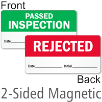 Rejected / Passed Inspection 2-Sided Magnetic Status Labels