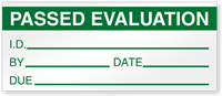 Passed Evaluation I.D. Write-On Quality Control Label