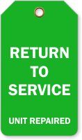 Return To Service Repair Tag