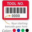 TOOL NO. Label, barcode, pack of 1000
