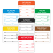 Water Soluble Labels with Days of the Week