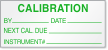 Calibration By, Date, Next Cal. Due, Instrument Label
