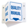 Quality Manual with Down Arrow Sign