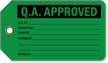 QA Approved Plastic Tags, Vinyl Inspection Tag