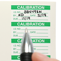 Calibration: ID#/By/Date/Due Labels